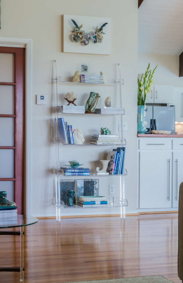 Vintage Lucite Bookshelf Styling Blue Accents
