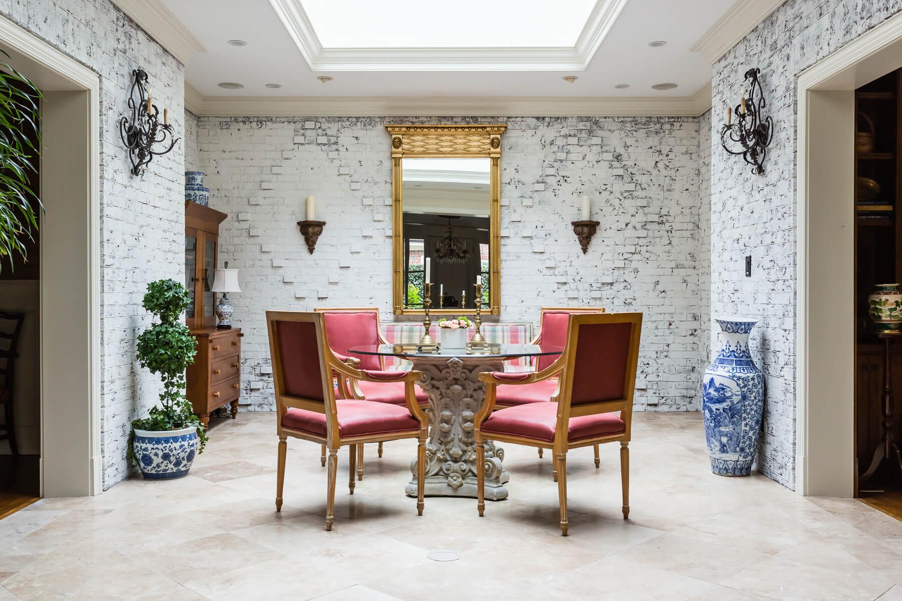 White Brick Sunroom Atrium Conservatory Eating Area