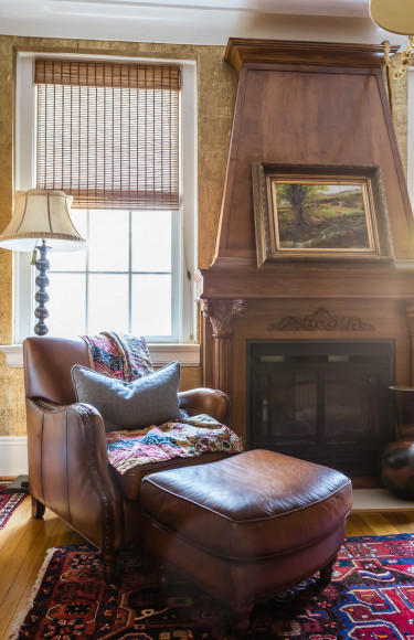 Wood Panel Library Fireplace Leather Chair Reading Nook