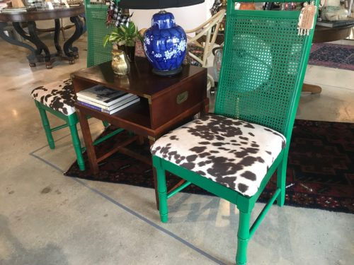 Faux Pony Cane Chairs