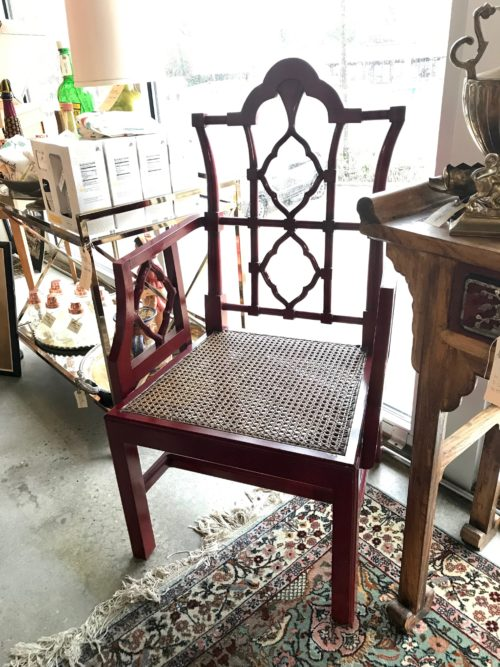 Pair Red Lacquer Chairs