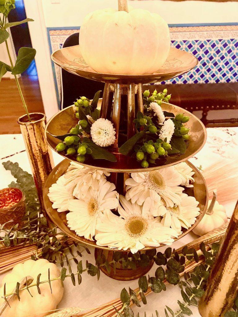 Gerbera Daisy Eucalyptus White Pumpkin Centerpiece Brass Bowl