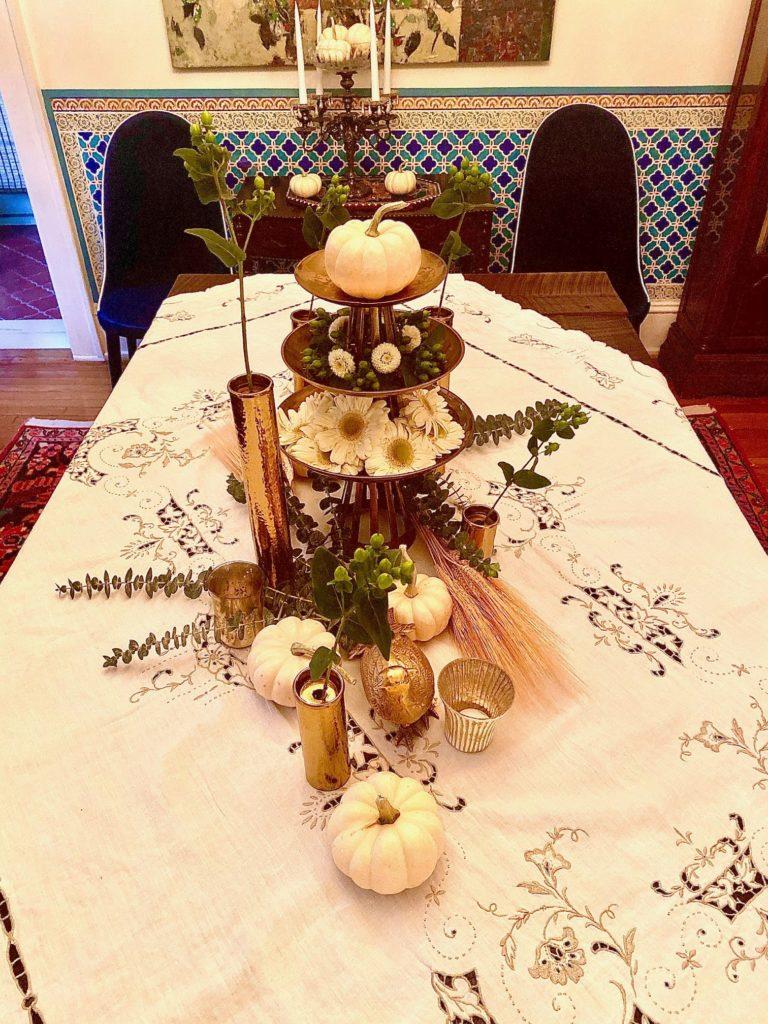White Pumpkin Brass Tiered Thanksgiving Table Centerpiece