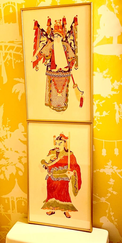 Japanese Pink And Green Woodblock Prints On Yellow Chinoiserie Wallpaper