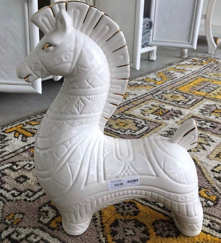 White Trojan Ceramic Horse