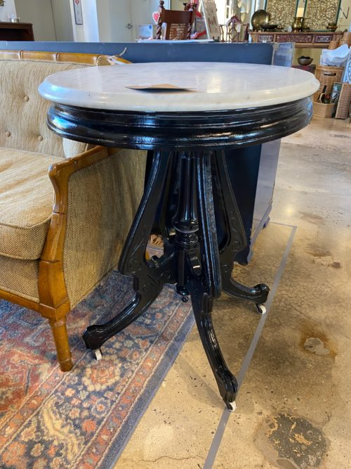 Black Lacquered Marble Top Table