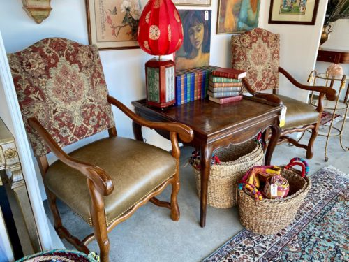 Tapestry And Leather Chairs
