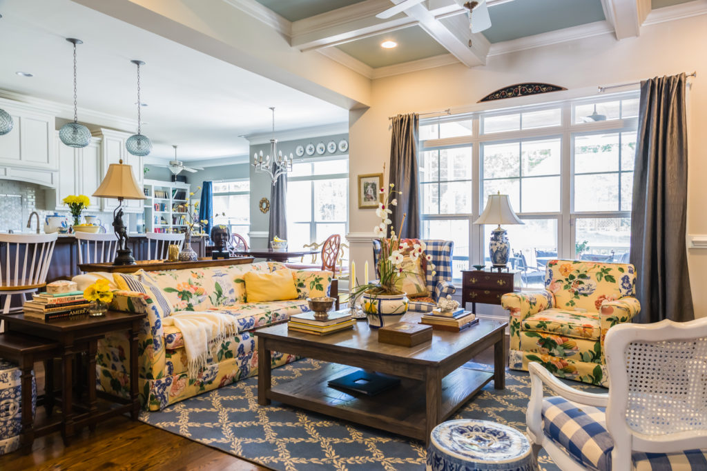 Chintz Couch And Chair Blue And Yellow Decorating