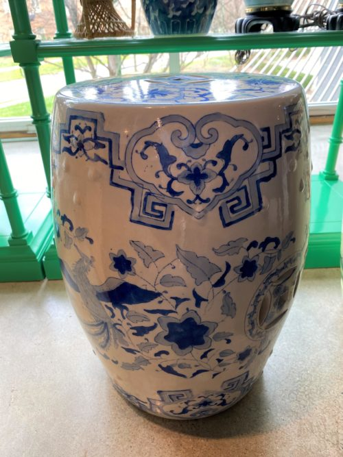 Asian Blue And White Garden Stool