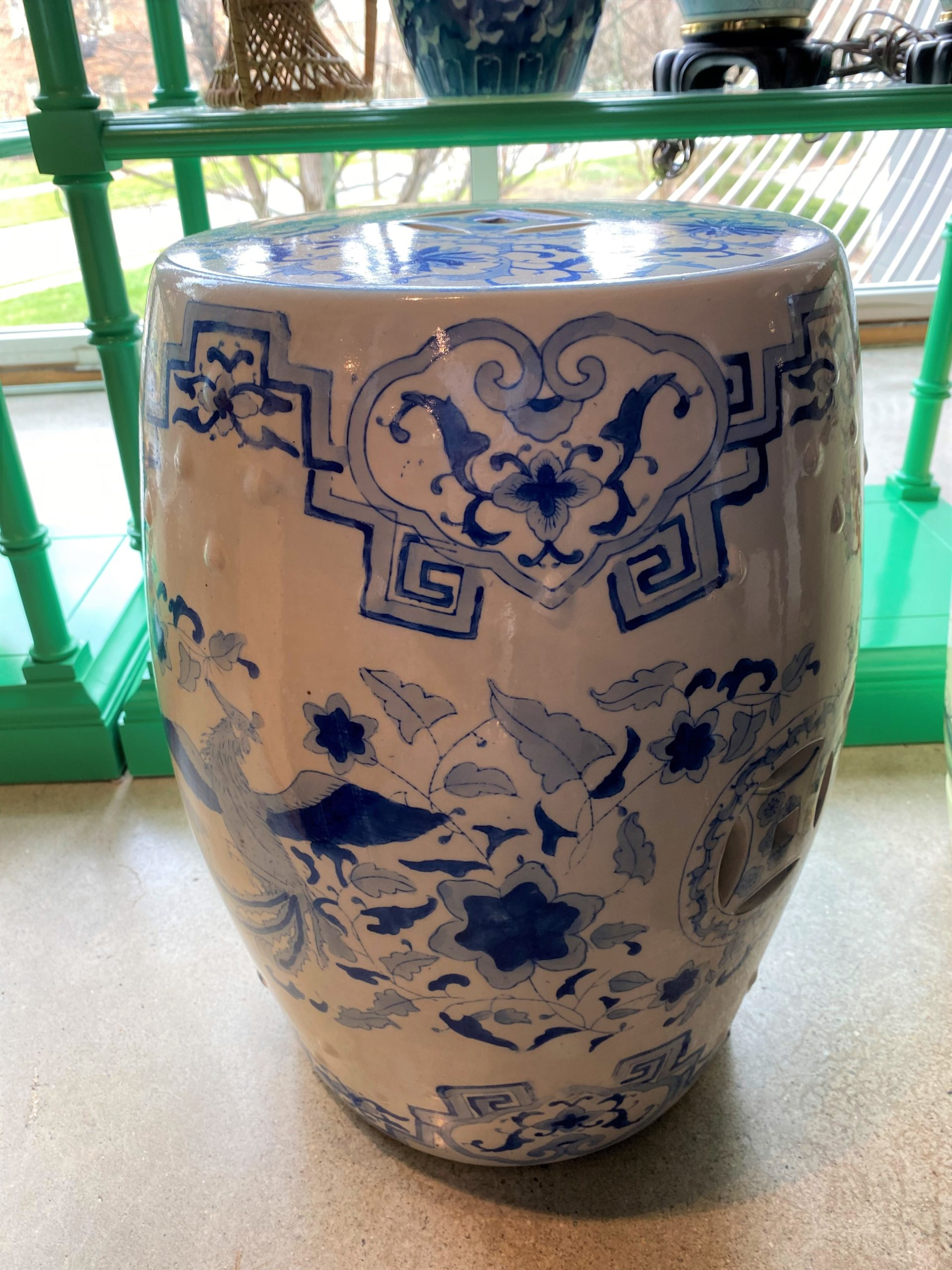 Asian Blue And White Garden Stool