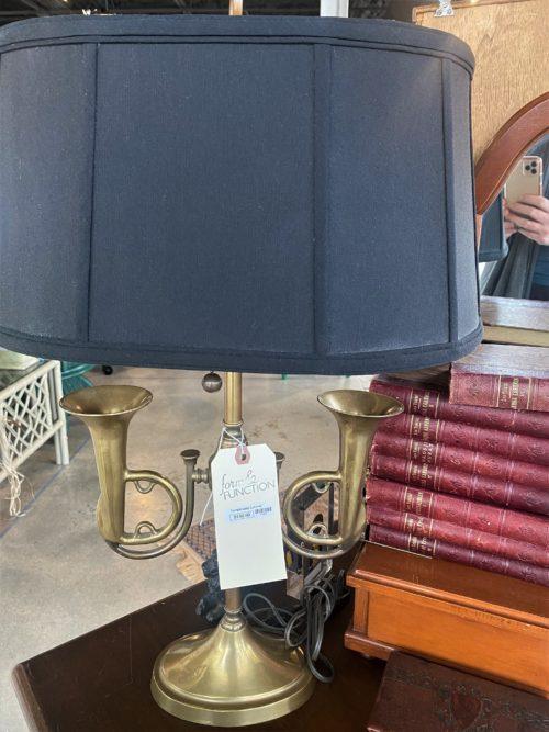 Brass Double Trumpet Desk Lamp
