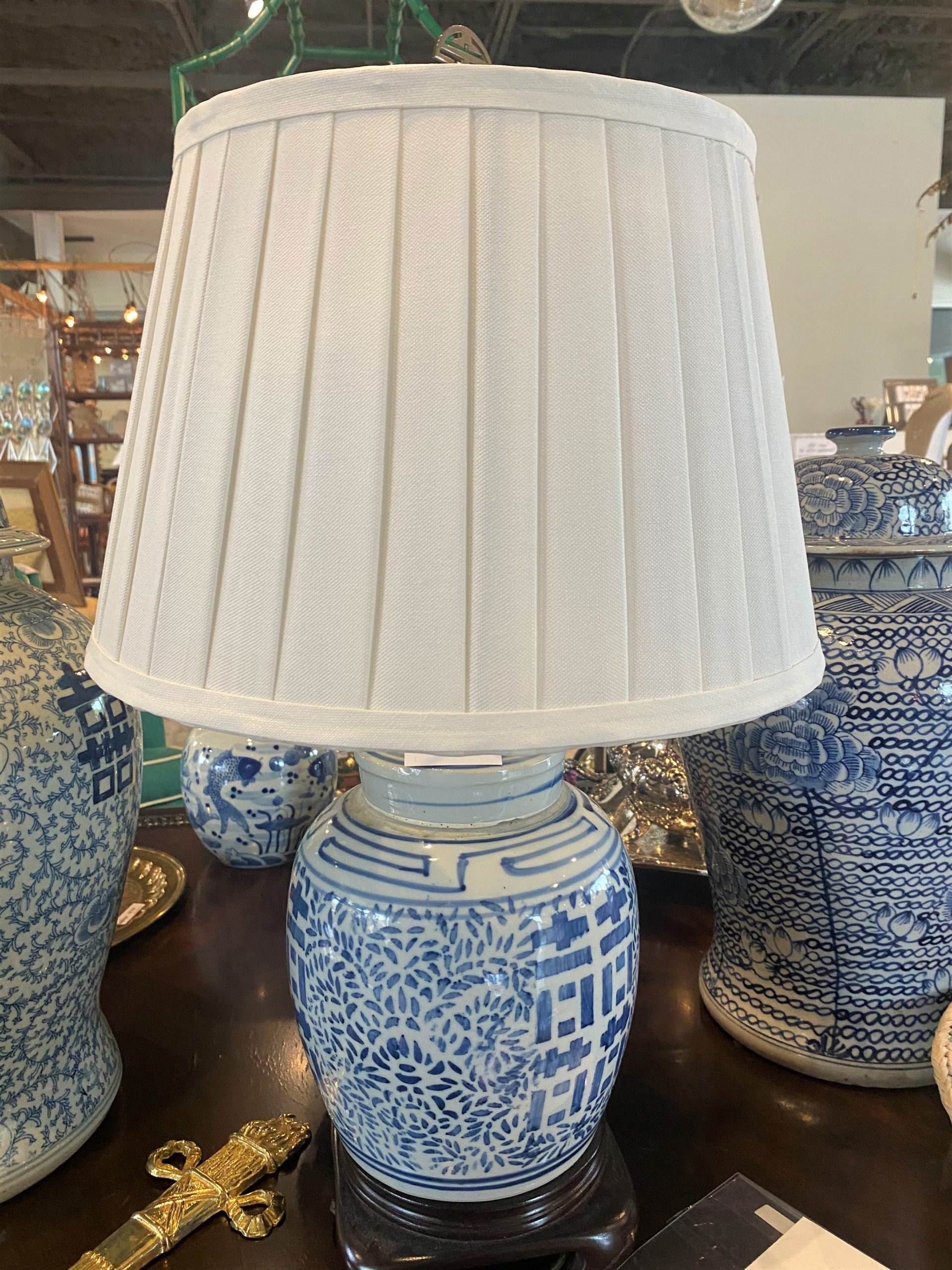 Cc Blue And White Asian Double Happiness Ginger Jar Lamp