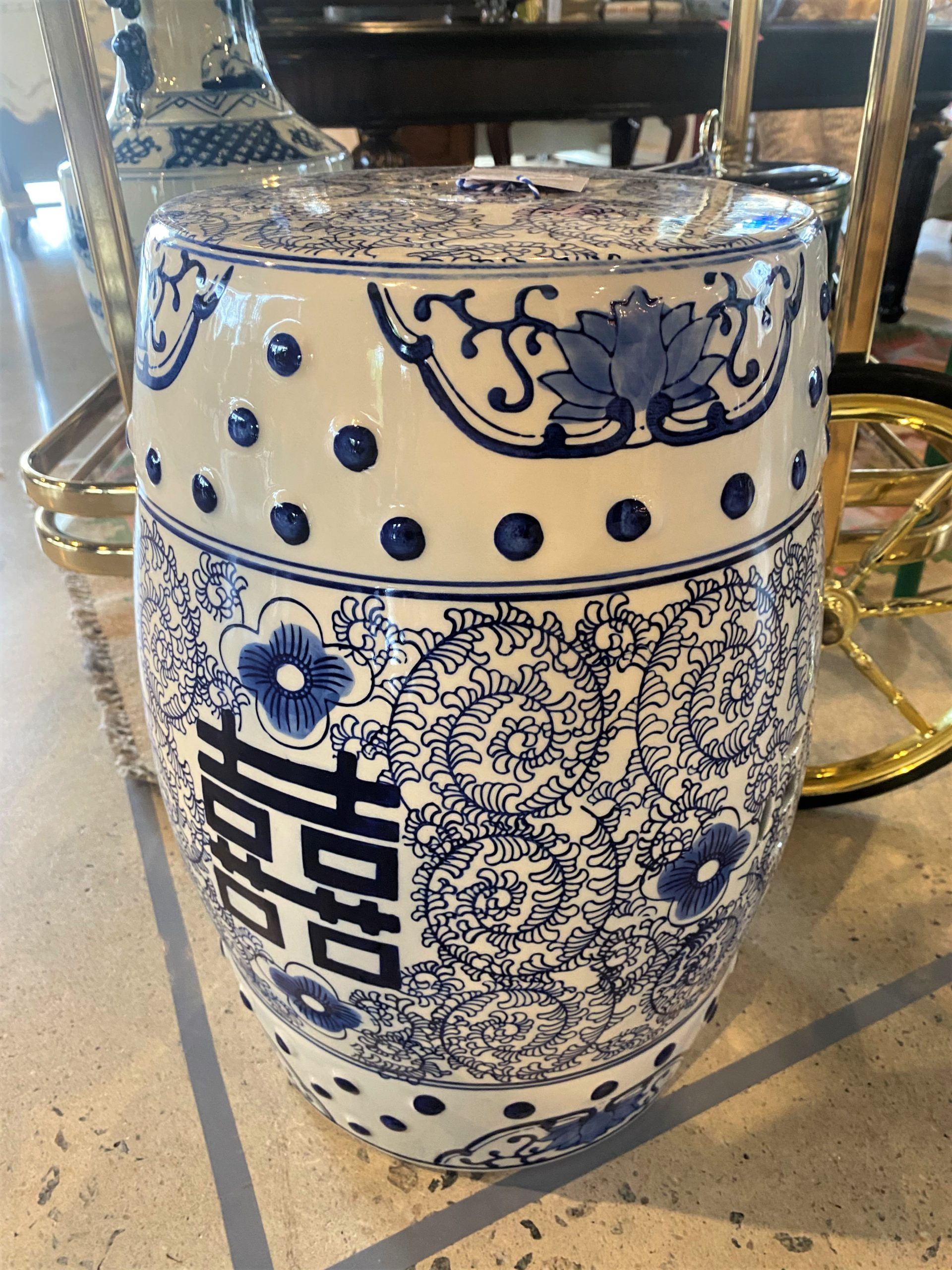 Cc Blue And White Chinese Porcelain Garden Stool