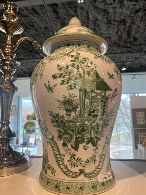 Cc Green And White Chintz Mantle Jar