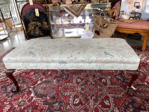 Chippendale Leg Asian Upholstered Bench