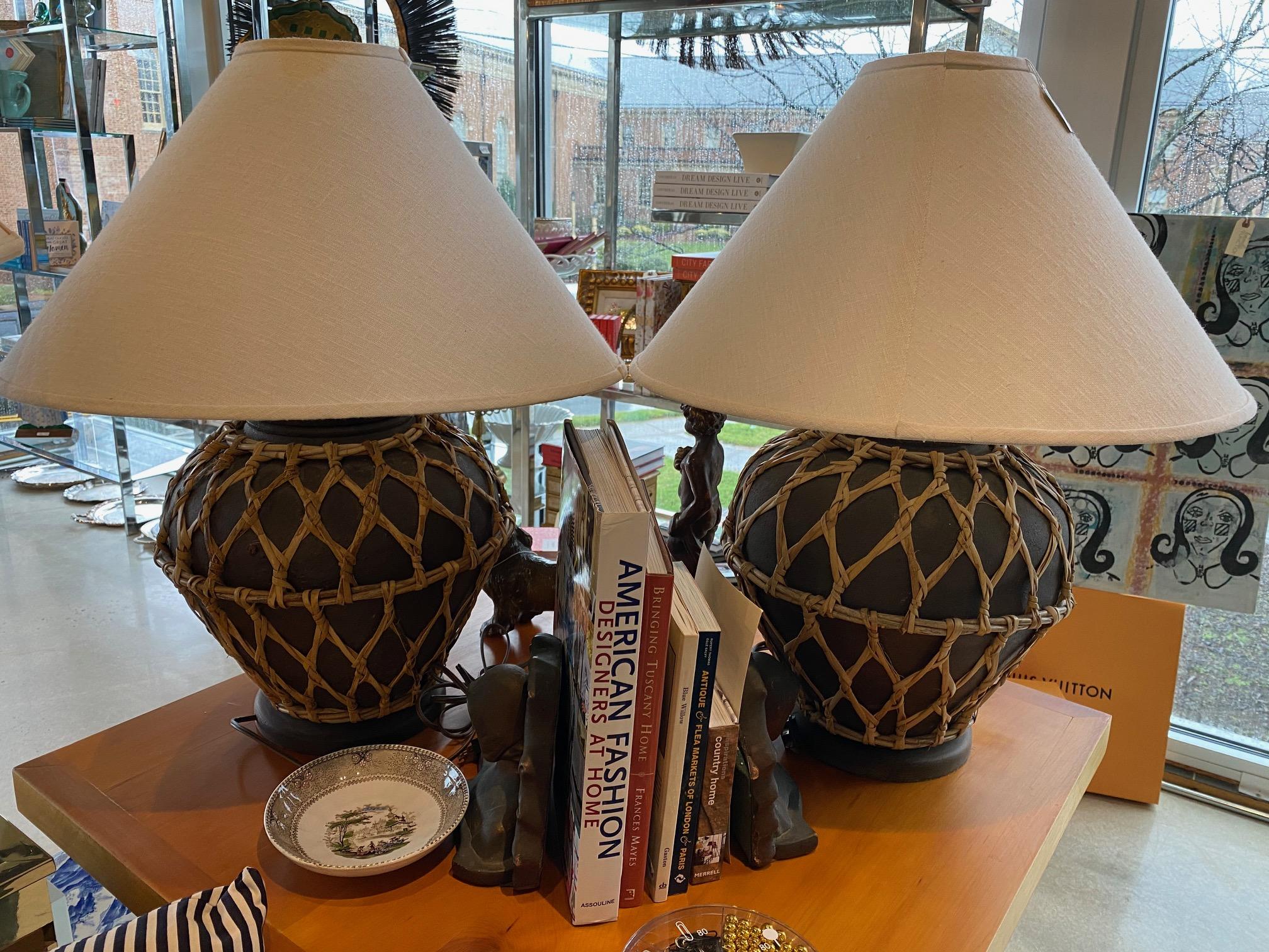 SG Pair Rattan Lamps