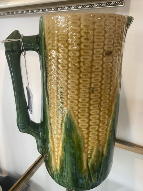 Sg Antique Majolica Corn Pitcher