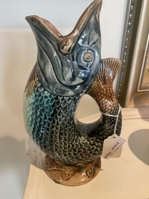 Sg Antique Majolica Fish Pitcher