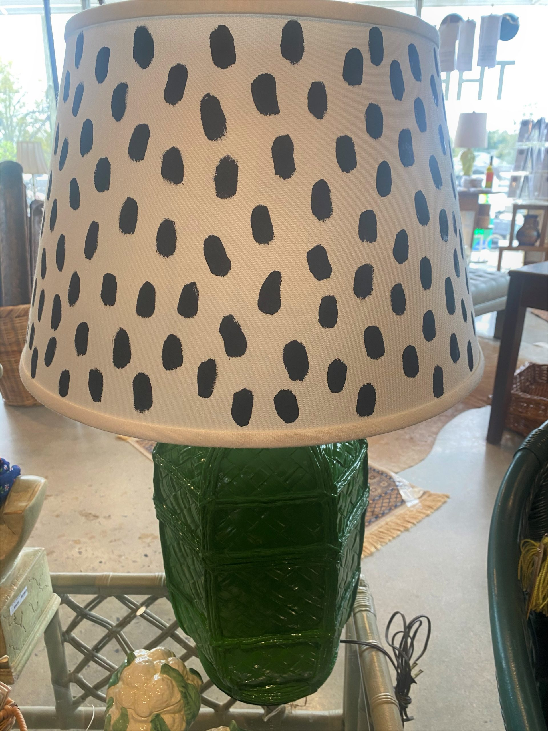 Sh Green Painted Plaster Faux Bamboo Lamp