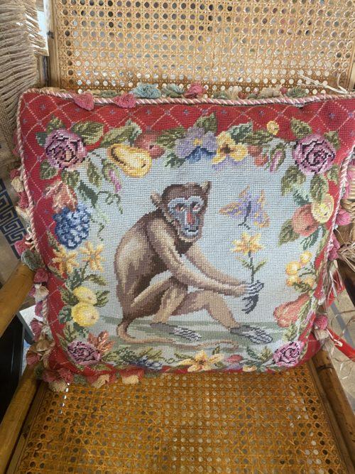 Sh Vintage Needlepoint Monkey Pillow