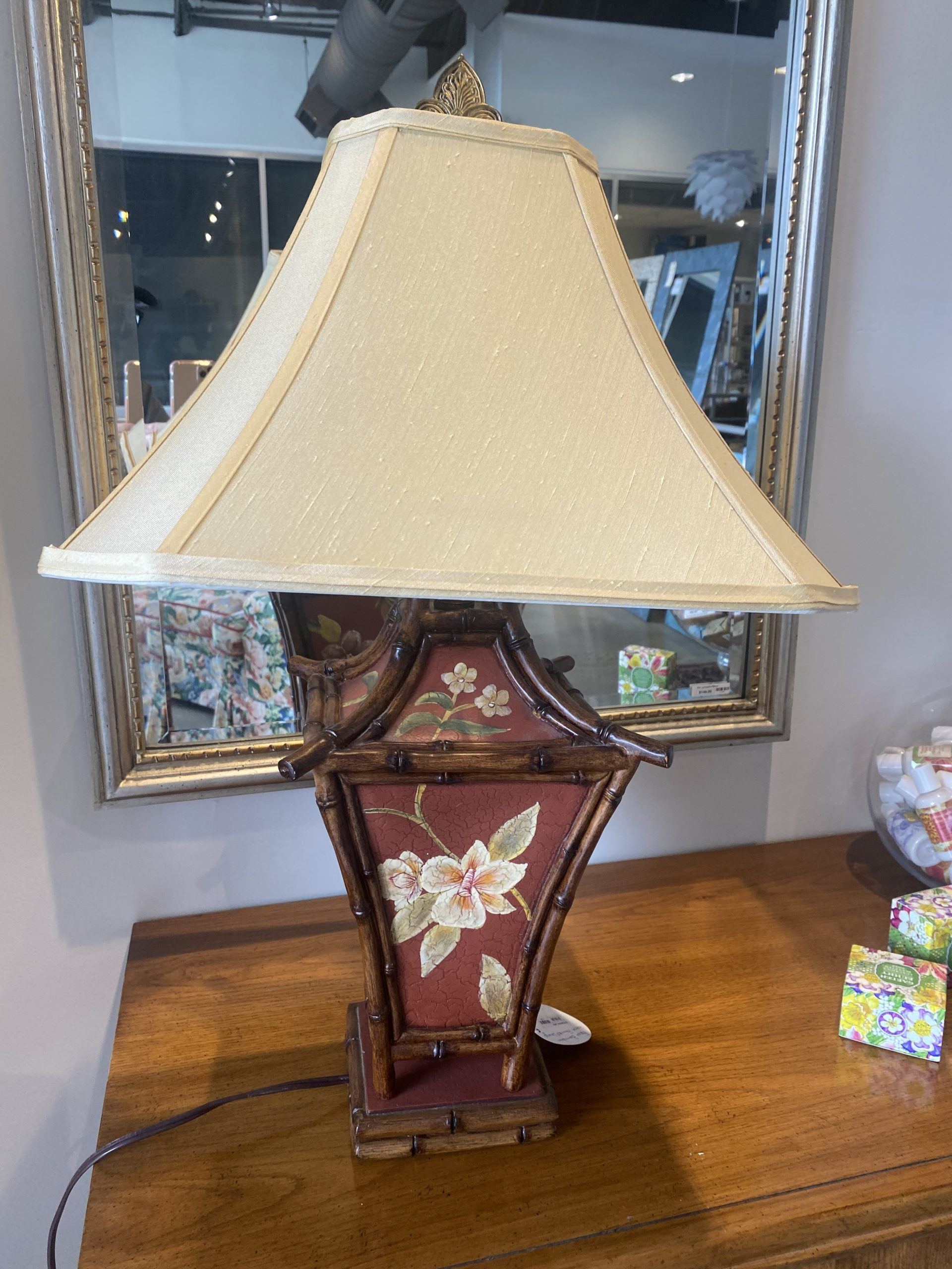 Sr Faux Bamboo Hand Painted Lamp