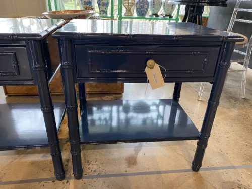Thomasville Navy Lacquered Nightstands Side Tables