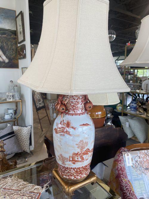 White Orange Asian Pomengranate Motif Lamps
