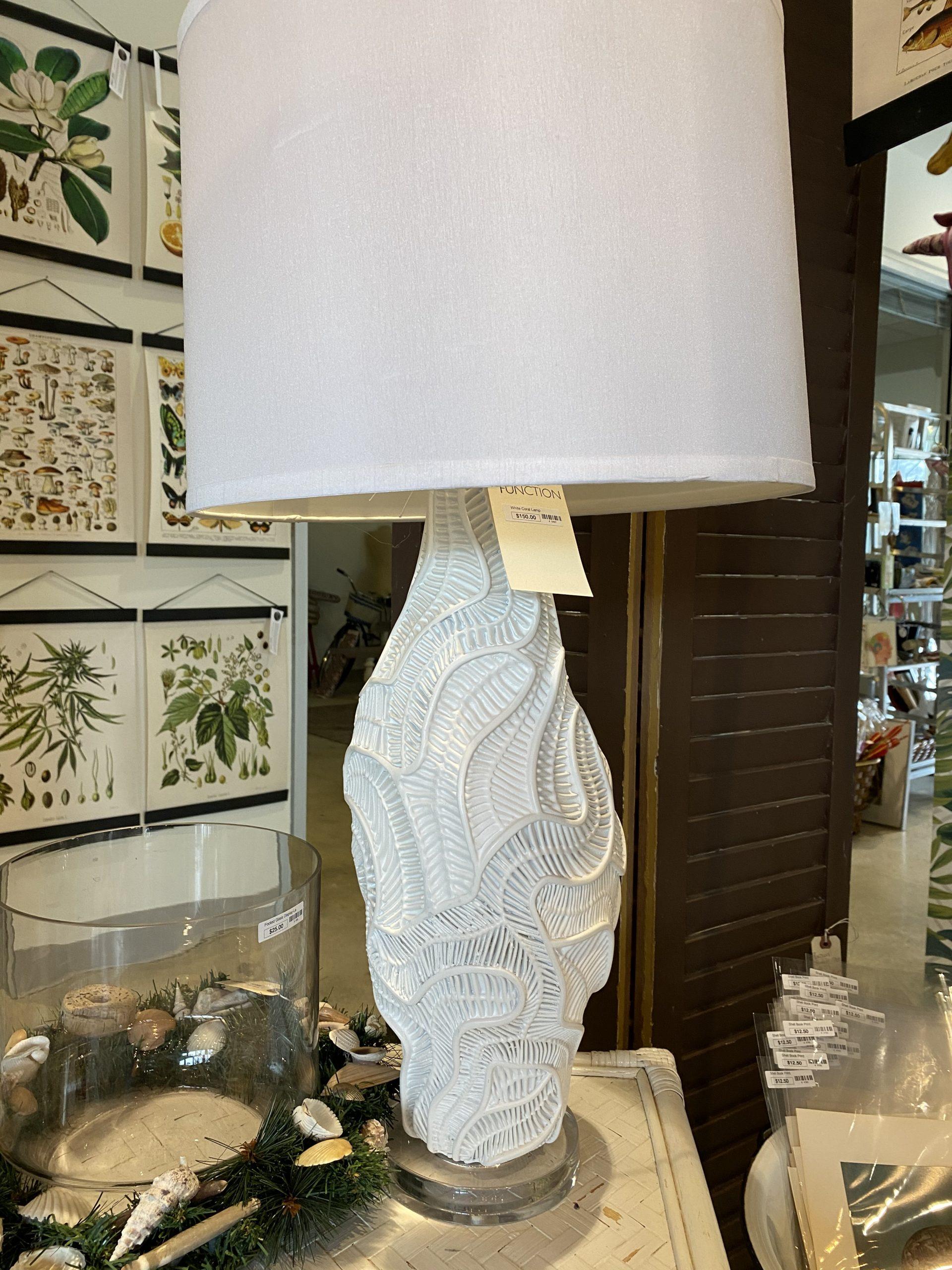 White Resin Coral Lamp