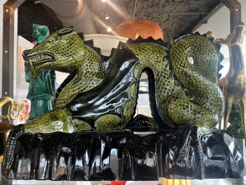 Xxl Green Asian Ceramic Dragon