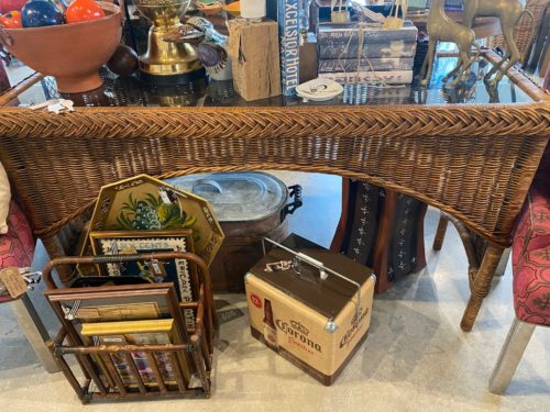 Ad Vintage Rattan Console And Glass Table