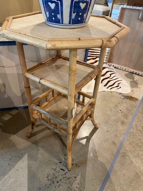 Al Faux Scorched Bamboo Octagonal Side Table With Shelf