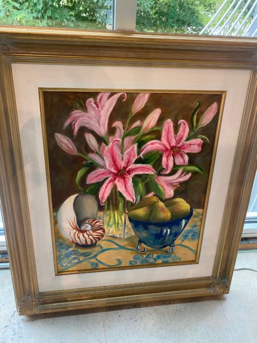 Al Floral With Shell Still Life Oil Painting