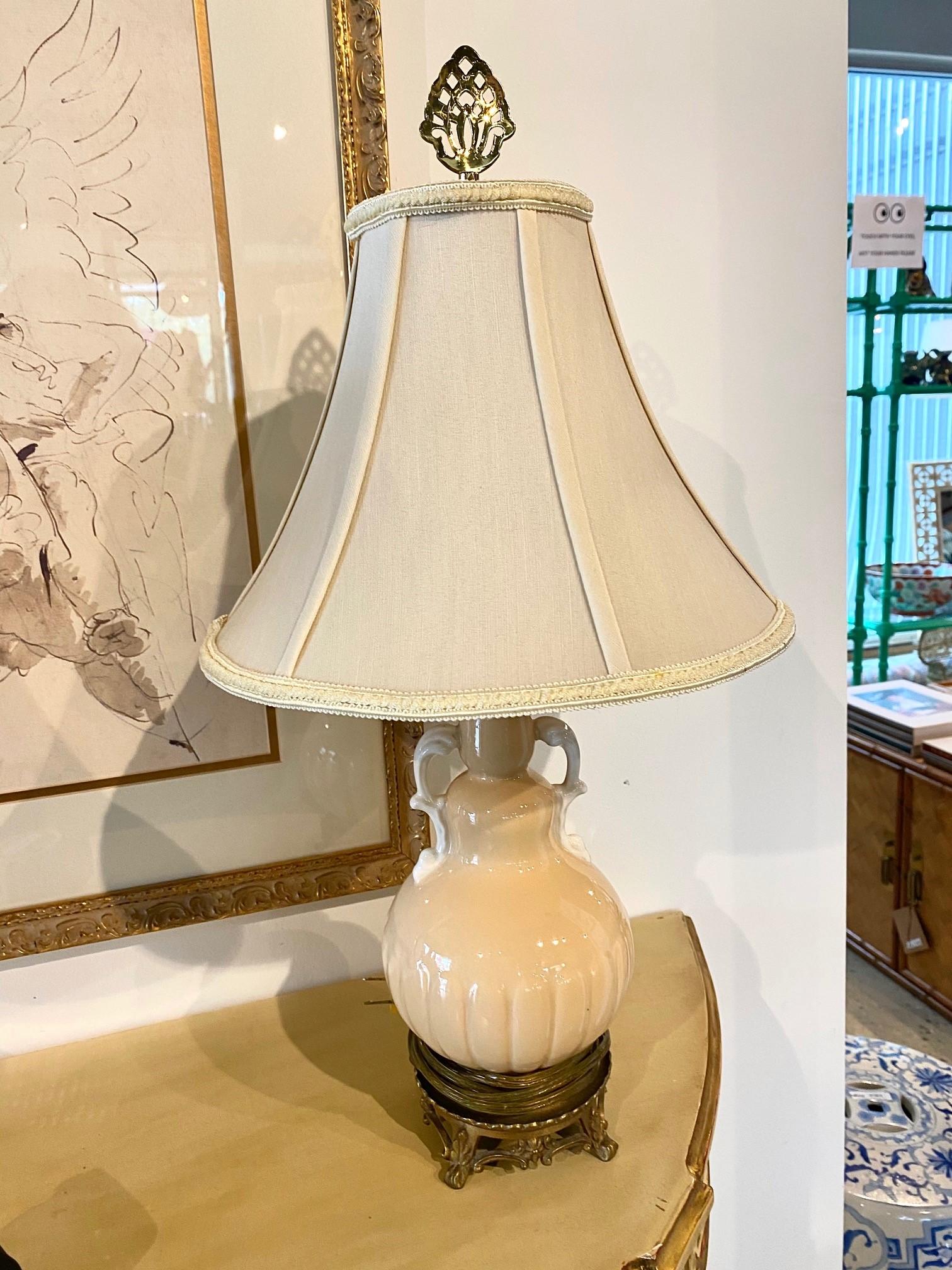 Cream Yellow Petite Porcelain Lamps Pair