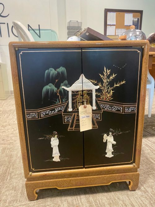 Asian Chinoiserie Cabinet With Raised Detail