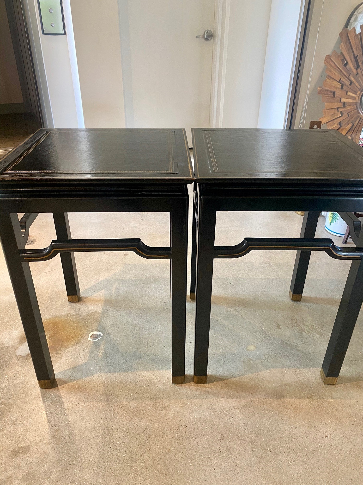 Black Asian Chinoiserie Table Greek Key Leather Top