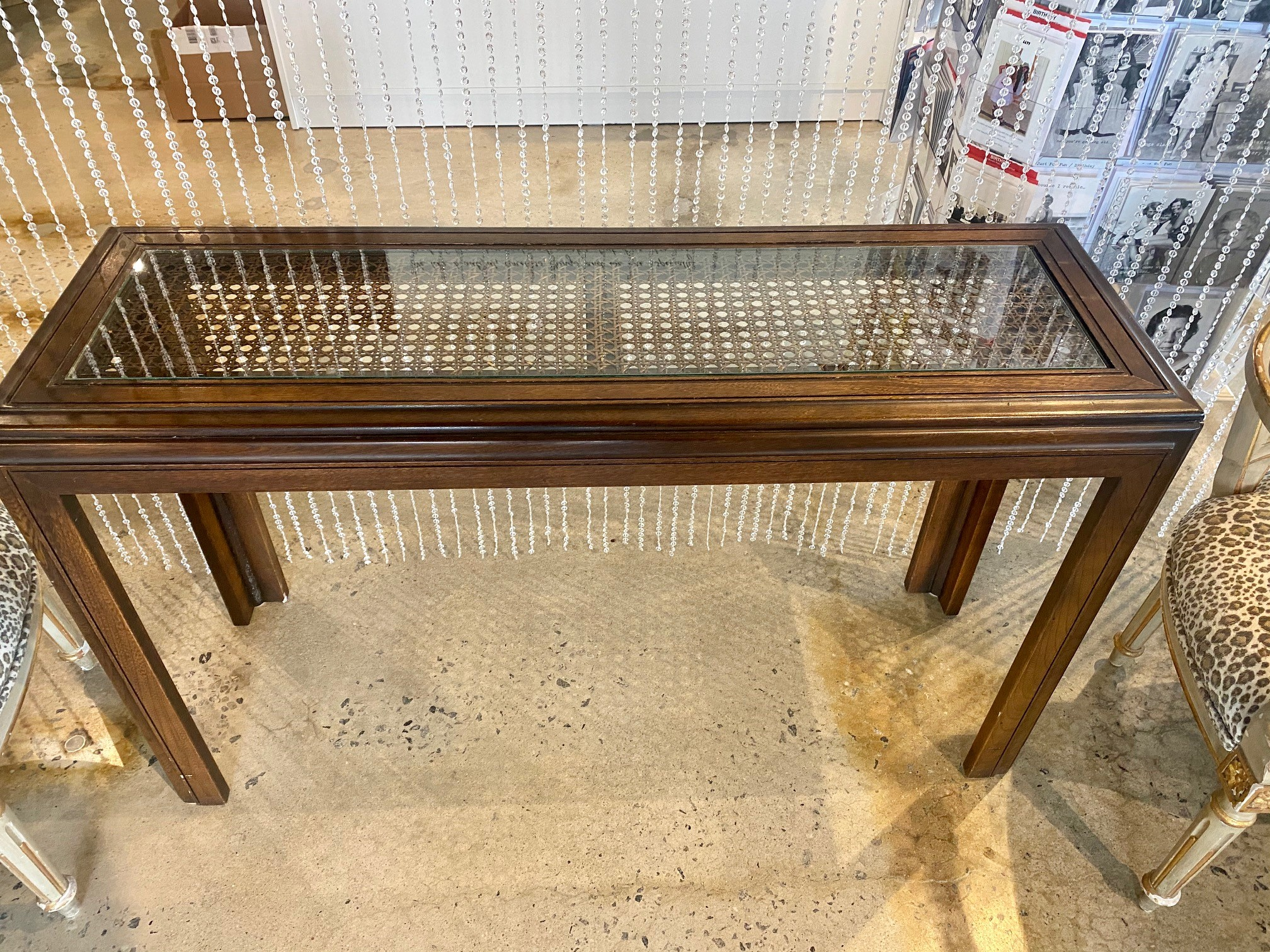 Glass Top Cane Vintage Holllywood Regency Console Table