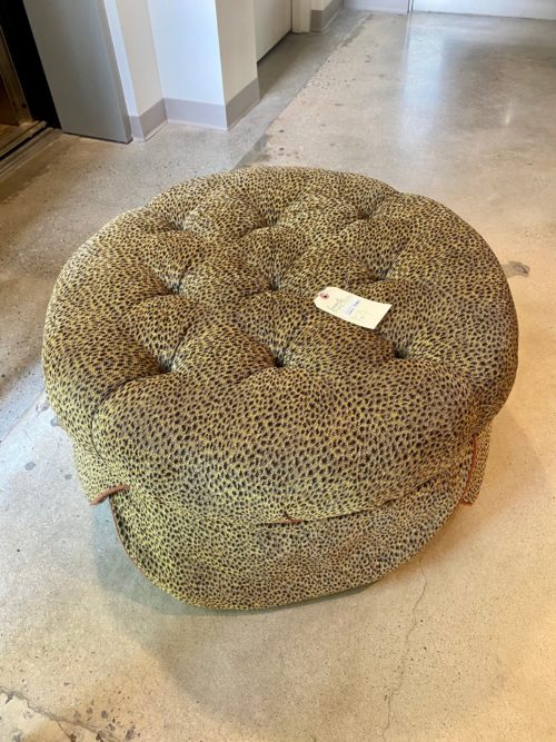 Leopard Upholstered Round Ottoman With Skirt