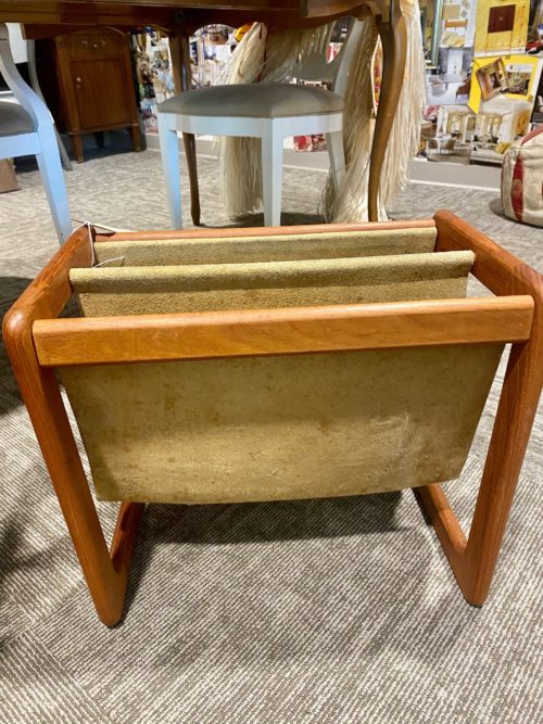 Mid Century Modern Leather Teak Magazine Stand