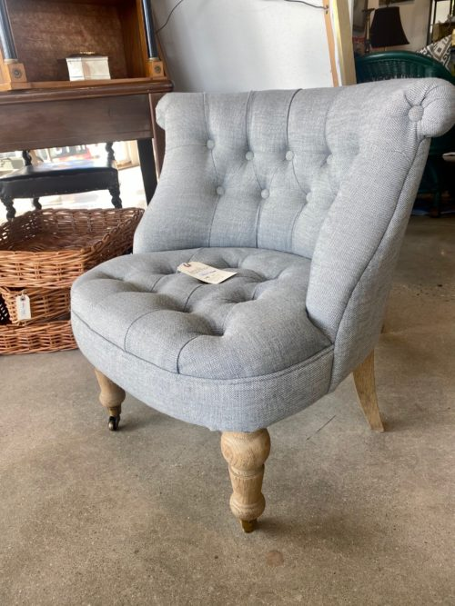 Tufted Small Grey Bedroom Chair