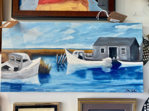 Fishing Shack And Boats Oil Painting