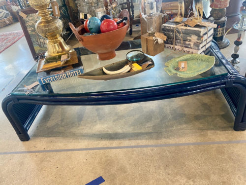 Navy Bamboo Glass Top Coffee Table