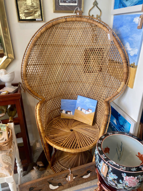 Vintage Rattan Bamboo Peacock Chair