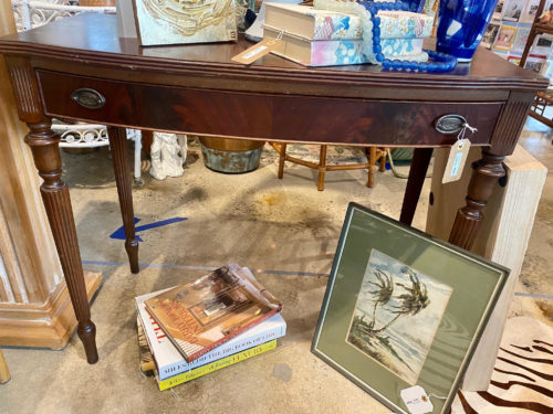 Antique Hall Wood Table With Drawer
