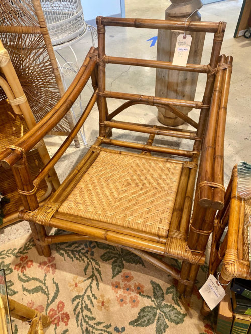 Bamboo Rattan Cane Bottom Arm Chair