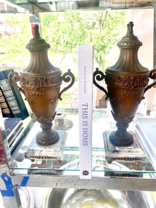 Bronze Urn On Marble Pair