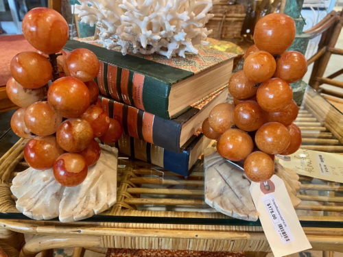 Italian Alabaster Grape Bookend Pair