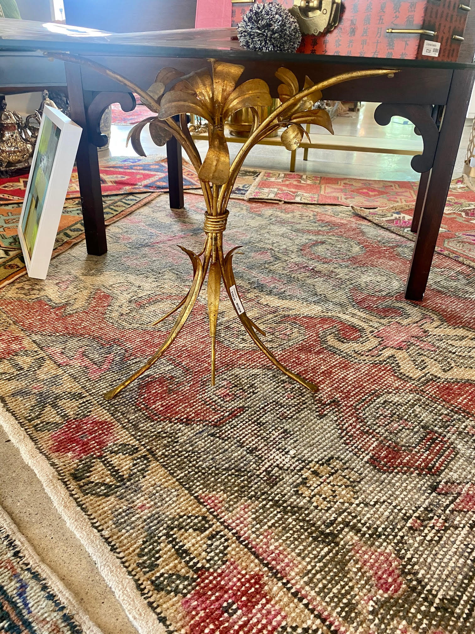 Italian Gilded Gold Metal Base Table