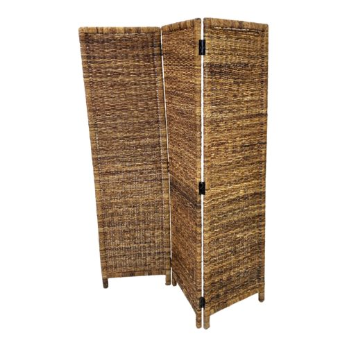 Late 20th Century Vintage Woven Wicker 3 Panel Screen Room Divider Chairish