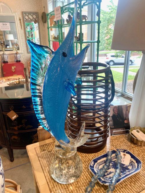 Murano Glass Blue Marlin Art