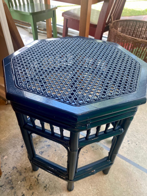 Navy Lacquer Rattan Side Table